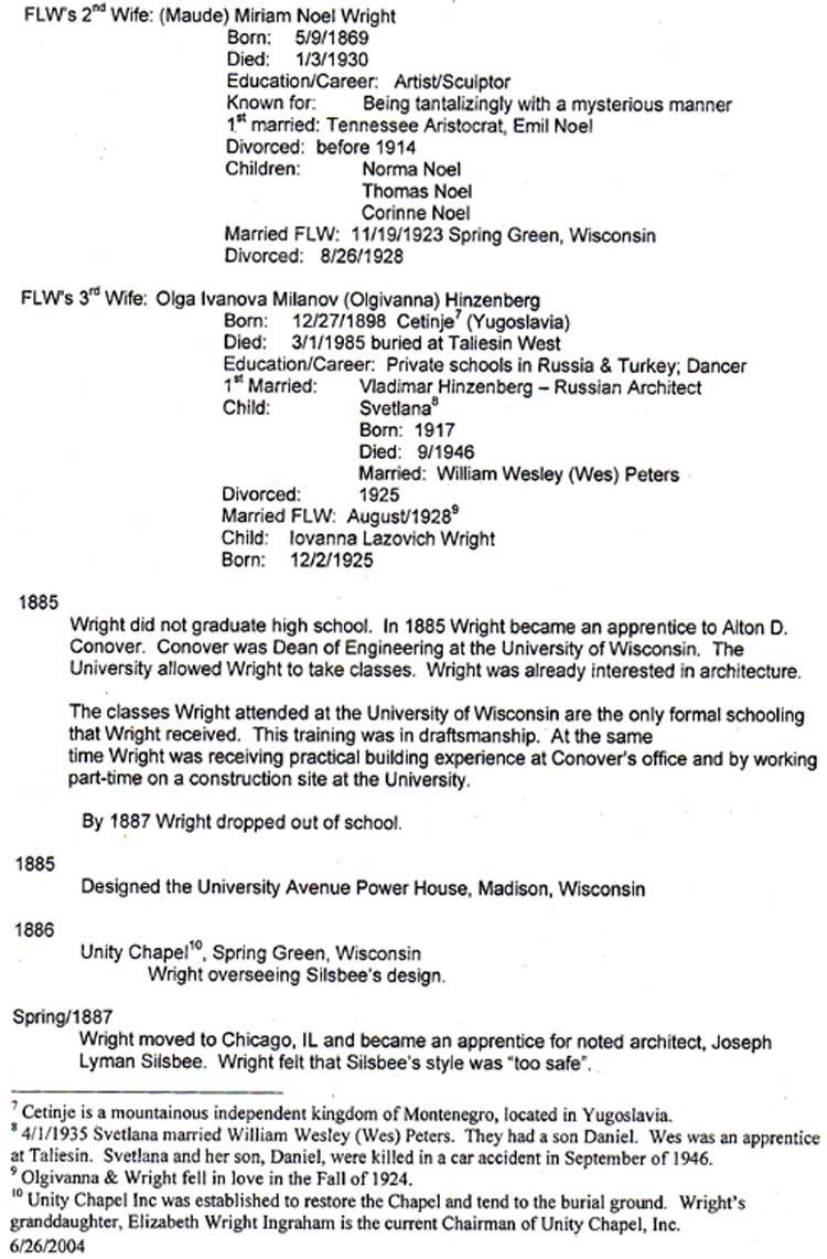 Frank lloyd wright genealogy 3 chronology spiritdancerdesigns Choice Image