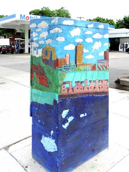 Buffalo skyline mural for Bufflon revetement mural