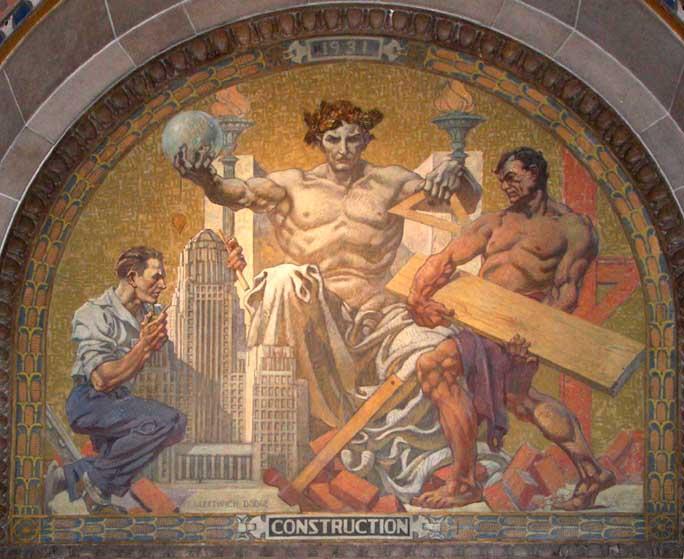 City hall for Bufflon revetement mural