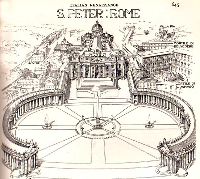 the architecture of st peters The making of saint peter's basilica history, controversies and genius at work part iii - building the second basilica by francesco bonavita, phd the work on the new basilica was proceeding slowly, because, in addition to pope julius' death, which occurred at around the same time as bramante's, the.