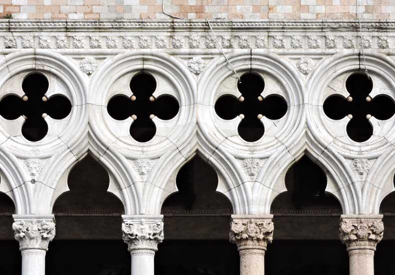 Second Story Loggia Gothic Quatrefoils Trefoil Arches Carved Capitals